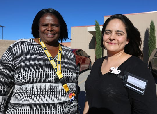 Director of Nutrition Services Operations Edwanda Williams and Health and Nutrition Services Specialist Leonor Lara, at Arrowhead Park Early College High School, Wednesday Oct. 9, 2019.