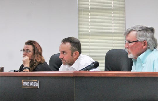The Otero County Commission at their regular meeting Oct. 10. From left: Otero County Commissioner Lori Bies, Otero County Commission Chairman Couy Griffin and Otero County Commission Vice Chairman Gerald Matherly.