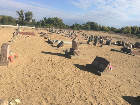 The portion of the cemetery where Civil War veteran Lewis Allinger is buried is pictured, Thursday, Oct. 10, 2019, at the Aztec Cemetery.