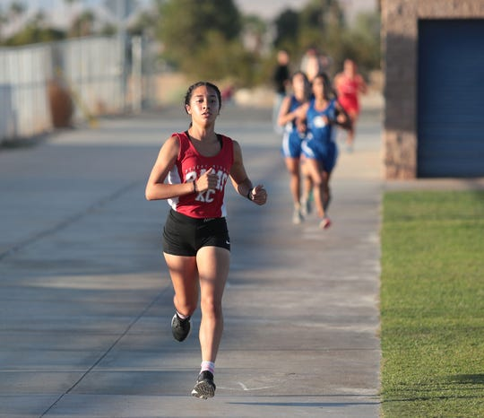 Jimena Ordaz of Desert Mirage runs in the Desert Valley League cross country race at Cathedral City High School, October 9, 2019.