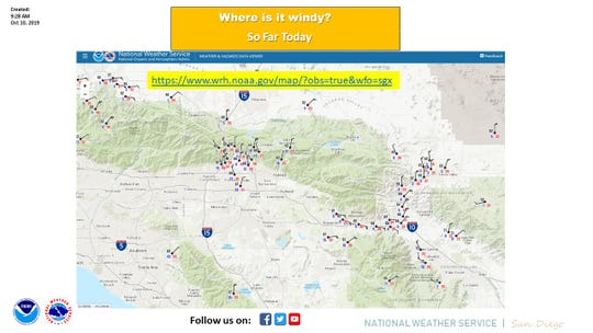 The National Weather Service has tracked high winds across Southern California.