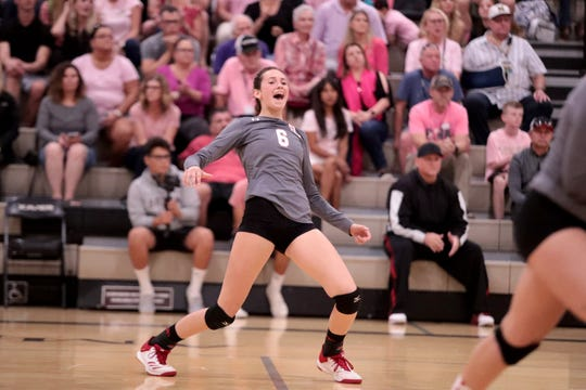 Palm Desert's Katie Rapp reacts during the game at Xavier Prep in Palm Desert, Calif., on Wednesday, October 9, 2019.