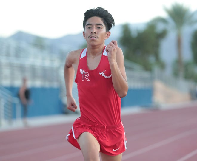 Robert Cecena runs in the Desert Valley League cross country race at Cathedral City High School, October 9, 2019.