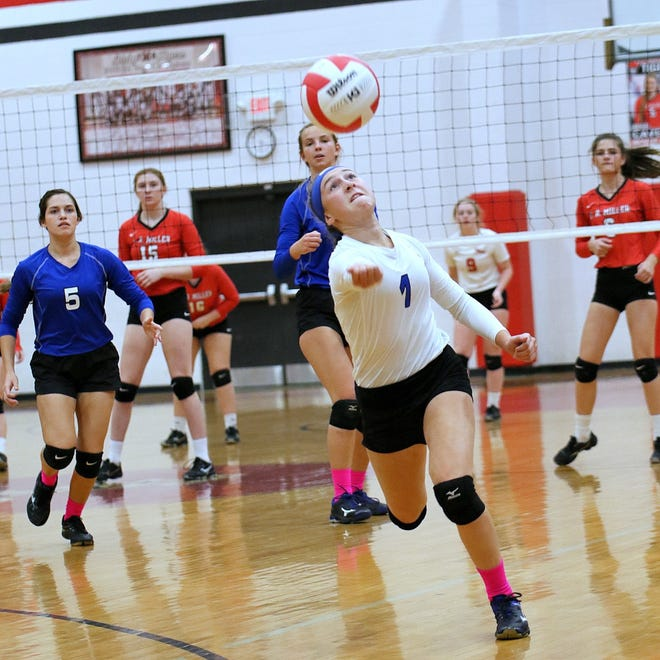 Jay freshman Caitlyn Gavin races to save a ball during an undated Jay volleyball match. The Royals are off to the program's best start in 30 years.