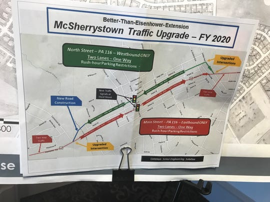 Kevin Chronister, of McSherrystown, said at the Eisenhower Drive Extension project open house that this copy of a different option to the project was left on his front porch recently, and he supports it.