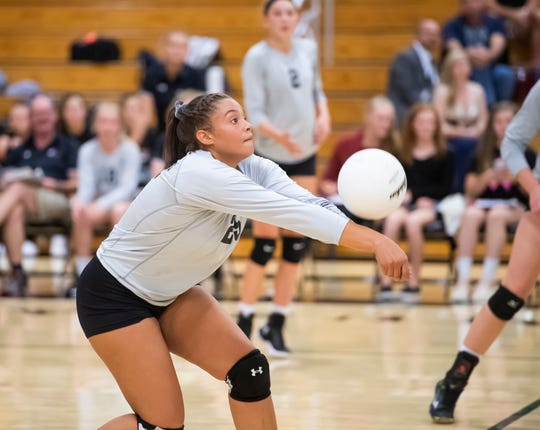 South Western's Ali St. Rose digs a ball in the fourth set against Central York on Wednesday, Oct. 9, 2019. The Panthers won in five sets, 18-25, 20-25, 25-18, 27-25, 15-8.