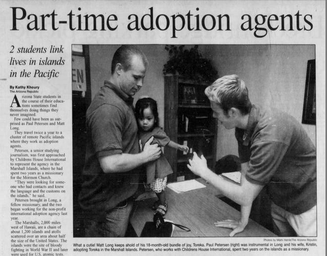 A 1998 Arizona Republic story about Paul Petersen's work as an adoption agent in the Marshall Islands when he was an Arizona State University senior. Petersen in 2019 was indicted in three states related to what prosecutors say is an adoption fraud scheme.