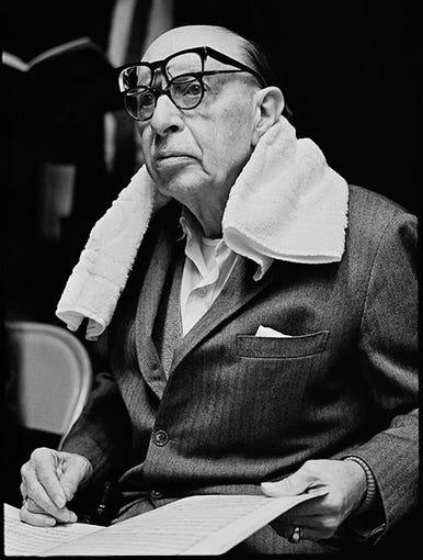 Russian composer Igor Stravinsky (1882-1971) in Portland, Oregon, in 1966.