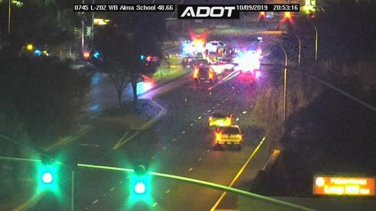 An Arizona Department of Public Safety trooper was involved in a crash at Alma School Road near Loop 202 in Chandler on Oct. 9, 2019.