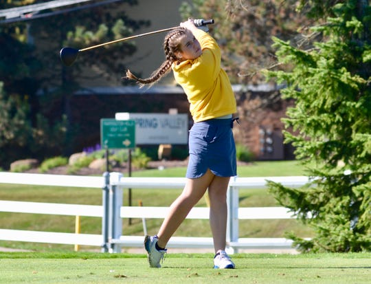 Port Huron Northern girls golfer Madison Bajis swings during the Division 2 regional on Thursday, Oct. 10, 2019, at Farmington Hills Golf Club.