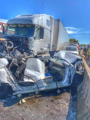 The twisted wreckage following a crash on Interstate 83 North near the Market Street exit on Thursday.