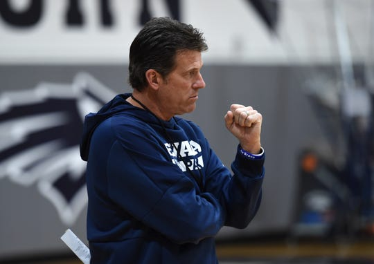 Nevada basketball coach Steve Alford gives instructions during practice at the Ramon Sessions Basketball Performance Center on the UNR  campus on Oct. 7, 2018.