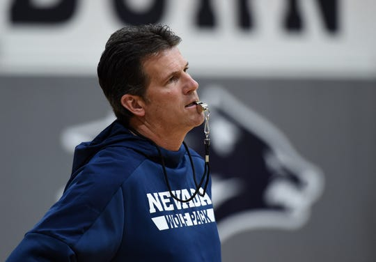 Nevada basketball coach Steve Alford watches the action during practice at the Ramon Sessions Basketball Performance Center on the UNR  campus on Oct. 7, 2018.