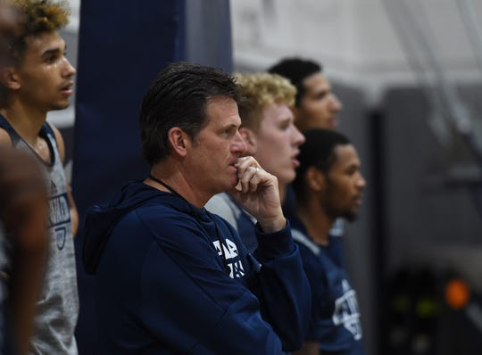 Nevada basketball coach Steve Alford watches the action during practice on Oct. 7, 2018. Nevada went from a very experienced team last year to a very inexperienced one this year.