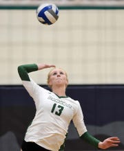 Damonte's Cayton White serves against rival Galena during their match at Damonte Ranch on Oct. 3.
