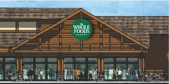 A rendering of the front elevation of the Whole Foods Market opening Nov. 6, 2019, in South Lake Tahoe, Calif.