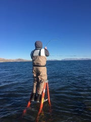 Fishing has been a little slow at Pyramid Lake, but should improve this month.