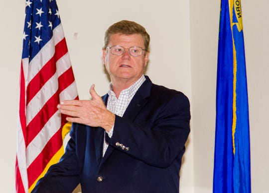 Congressman. Mark Amodei, a Republican representing Nevada's second district, gestures while talking to about 50 community members and business leaders at the Dayton Valley Golf and Country Club.