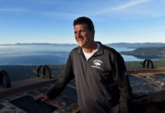 Nevada basketball Coach Steve Alford stands at a turnoff that overlooks Lake Tahoe on Oct. 8, 2019. Alford told IndyStar he was tired of moving and he loves the West.