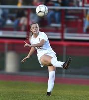 Marion's Chloe DeLyser takes a shot on goal against Williamson during a regular season game at Williamson High School, Thursday, Sept. 19, 2019. Marion beat Williamson 3-0.
