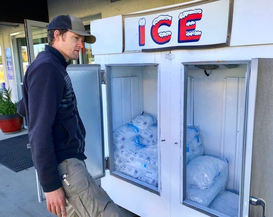 Palo Cedro Market had ice for sale Thursday, Oct. 10, 2019, for those who needed it during the continuing PG&E power shutoff. Here market owner Bryce Gebauer checks on the ice supply before placing another order with North State Ice in nearby Redding.