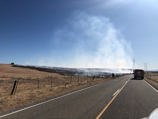 A fire burns near Millville Plains Road in this October 10, 2019 contributed picture.