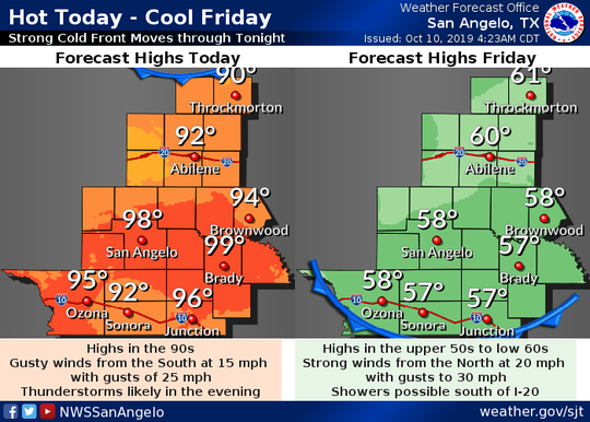 National Weather Service map predicting high temperatures for Friday Oct. 11, 2019.