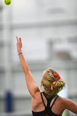 Tanna Lehfeldt of Brandon Valley serves the ball during the class AA state girls tennis tournament at the Huether Family Match Pointe tennis facility in Sioux Falls.