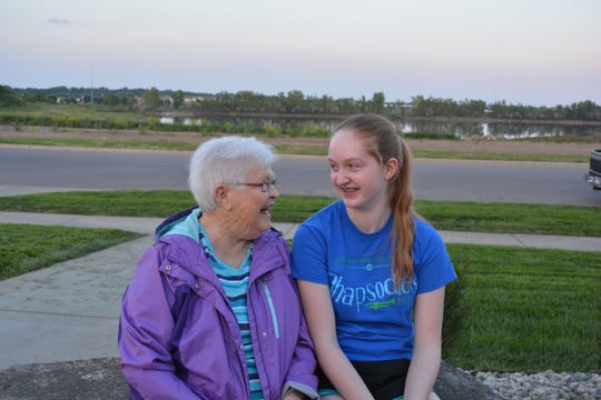 This submitted photo, taken in 2015, shows Lake Lorraine's namesake Hilda Lorraine Friessen sitting with granddaughter Angela Lorraine Vognild with the lake in the background.
