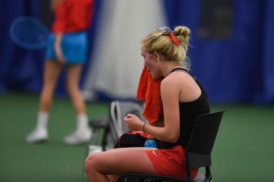 Tanna Lehfeldt of Brandon Valley rests between games during the class AA state girls tennis tournament at the Huether Family Match Pointe tennis facility in Sioux Falls.