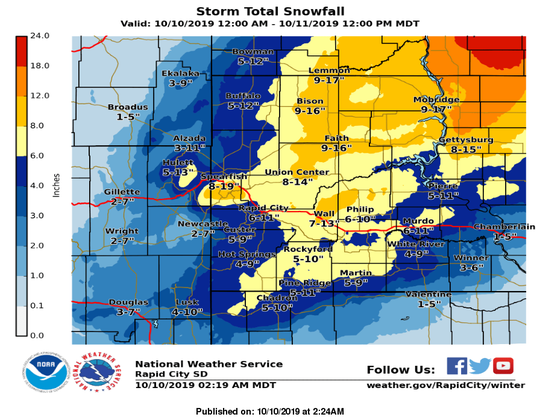 A graphic showing expected snowfall for western South Dakota.
