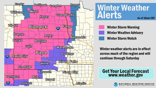 Winter weather alerts in Sioux Falls.