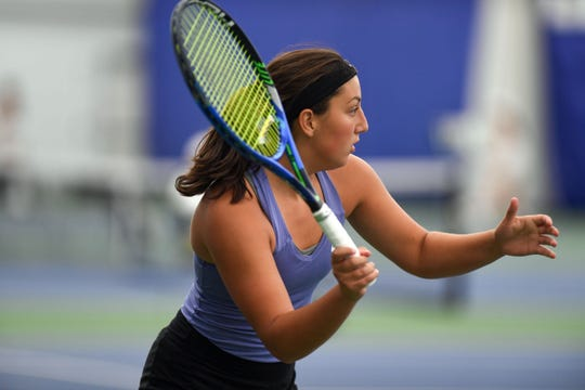 Megan Fanin from Watertown waits to receive her opponent's serve during the class AA state girls tennis tournament at the Huether Family Match Pointe tennis facility in Sioux Falls.