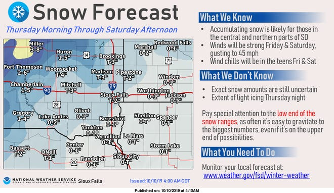 A graphic showing snow totals for the eastern part of South Dakota.