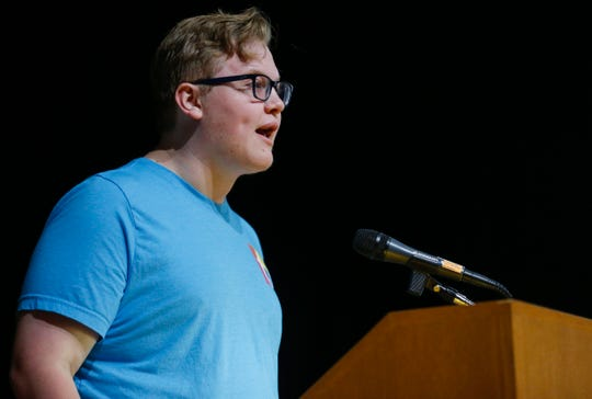 Recent Kickapoo High School graduate Drew Voris talks about teen mental health first aid during the Community Focus Report presentation at the Springfield Art Museum on Thursday, Oct. 10, 2019.