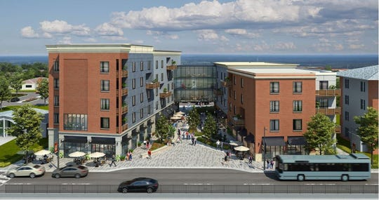 A rendering of a planned mixed-use project along National Avenue at the current site of the Missouri State University Baptist Student Union.