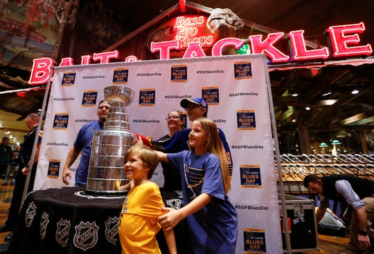 Steven McComb, wife Christine and their three kids Connor, Kylie and Michael were first in line to see the Stanley Cup at Bass Pro Shops in Springfield, Mo. on Thursday, Oct. 10. 2019.