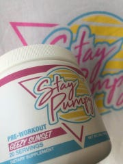 A 'Stay Pumpy' pre-workout supplement from SwolM8.