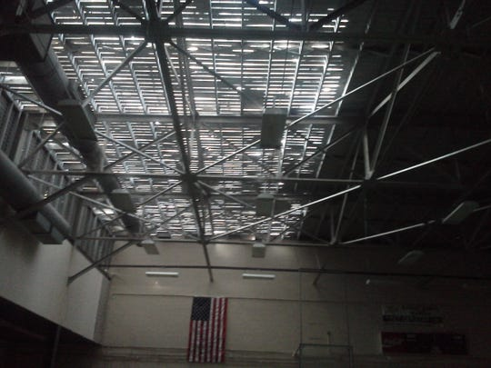 This photo shows the roof ripped off the  gymnasium at Greensboro Elementary School in Gadsden County by Hurricane Michael.