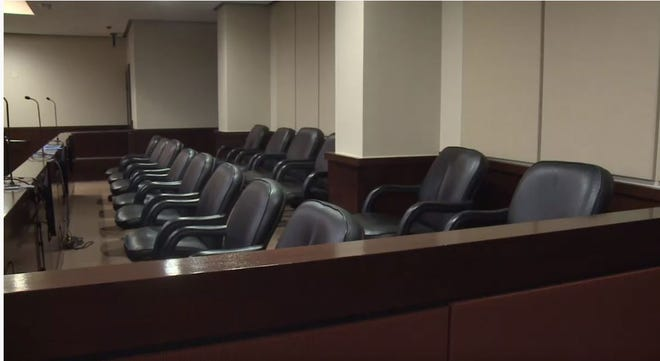 A courtroom's jury box.