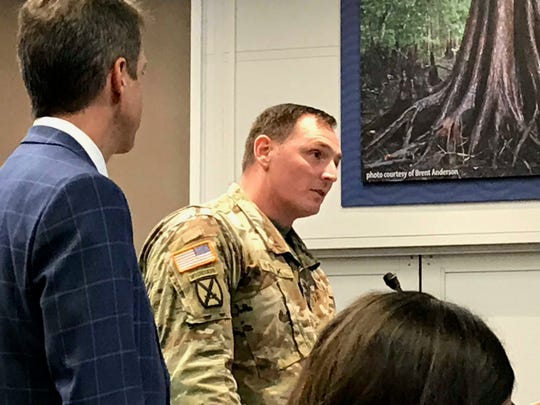 Lt. Col. Todd Polk, Army Corps of Engineers deputy commander for Florida, tells the South Florida Water Management District board Thursday, Oct. 11, 2019, permits for the proposed reservoir project to cut Lake Okeechobee discharges should be completed in May 2020.