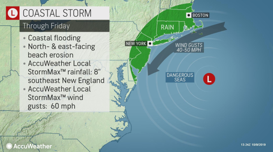 Storm expected to bring coastal flooding to U.S. East Coast.