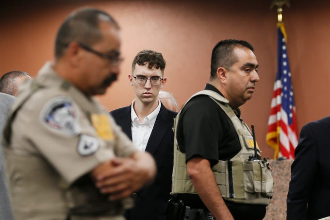 Patrick Crusius, who is accused in the Aug. 3, 2019, mass shooting at an East El Paso Walmart, is arraigned Thursday, Oct. 10, 2019, in the 409th District Court, with Judge Sam Medrano presiding. Crusius, 21, of Allen, Texas, is accused of killing 22 and injuring 25 in the attack, which is the seventh deadliest mass shooting in modern U.S. history and the third deadliest in Texas.