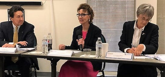 Joyce Wilson, center, CEO of Workforce Solutions Borderplex, speaks at an economic development summit Oct. 8, 2019. Jon Barela, left, CEO of The Borderplex Alliance, and UTEP President Heather Wilson were among the summit's panelists.