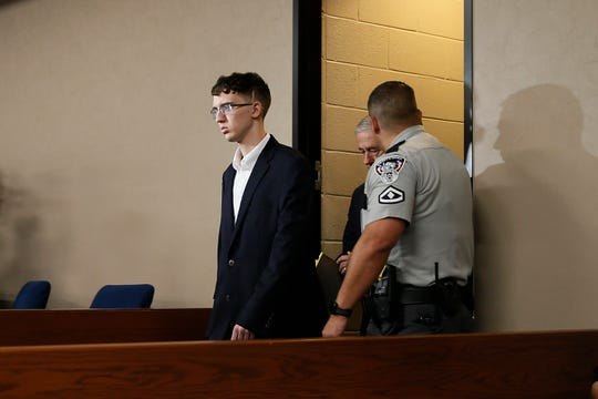 Accused El Paso Walmart mass shooter Patrick Crusius is arraigned Thursday, October, 10, 2019 in the 409th state District Court with Judge Sam Medrano presiding. Crusius, a 21-year-old male from Allen, Texas, stands accused of killing 22 and injuring 25 in the Aug. 3 mass shooting at an East El Paso Walmart in the seventh deadliest mass shooting in modern U.S. history and third deadliest in Texas.