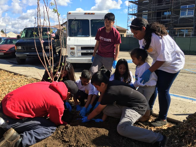 Local children including City Corps youth help plant a tree, which was made possible by a state grant to Oxnard.