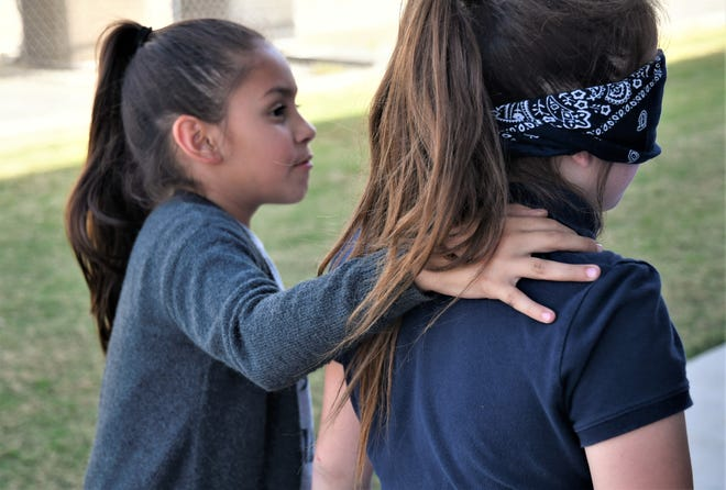 Pleasant View Elementary School students attend SQUAD, a campus club. SQUAD focuses on developing students' leadership and philanthropic skills. Students participated in a trust walk on Wednesday, Oct. 9, 2019.