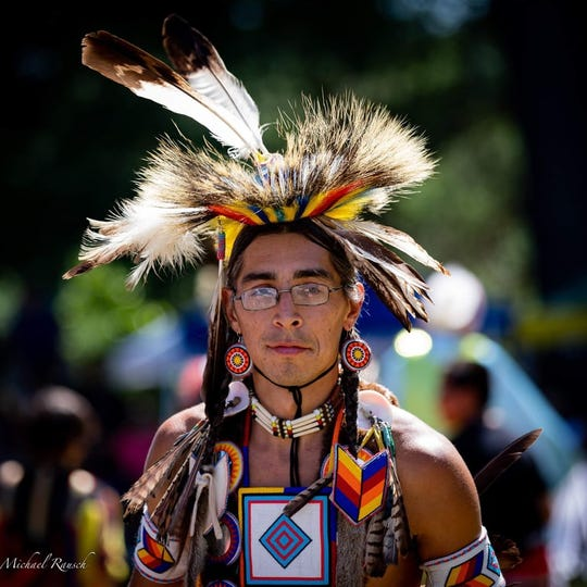 Josh Zunker, a traditional Ho-Chunk dancer, of Weston, Wisconsin.