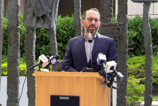 Rabbi Daniel Gropper, the president of the Westchester Board of Rabbis, delivers remarks at the Holocaust Garden of Remembrance in White Plains, during an interfaith vigil Oct. 10, 2019.