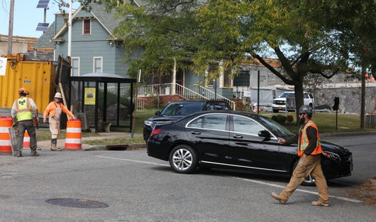 A motorists makes a u-turn after finding out the South Broadway entrance to the New York State Thruway in Nyack closed Thursday, Oct. 10, 2019.